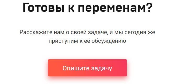 Картинка с примером текста и ста-кнопкой «Опишите задачу»